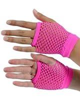 Punk Rocker Short Pink Fishnet Gloves