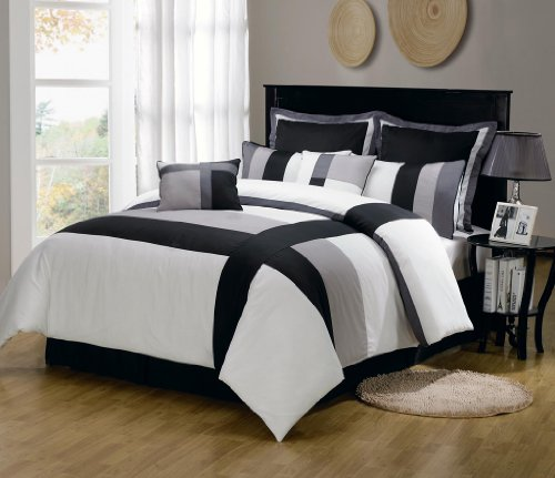 11 Piece Twin Serene Black And Gray Bed In A Bag W/600Tc Cotton Sheet Set