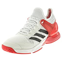 adidas Performance Men\'s Adizero Ubersonic 2 Tennis Shoe, White/Black/Ray Red Fabric, 10 M US