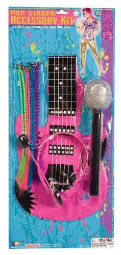80's Pop Singer Star Microphone Guitar Neon Hair Costume Accessory Kit