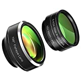 Mozeat 3 in 1 Clip-on Cell Phone Camera Lens, Fisheye Lens ,150 Degree Wide Angle Lens, 15X Macro Lens for iPhone, Android and Windows Smartphones