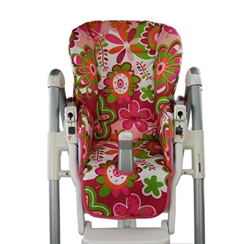 Babys-Dreams-Sitzkissen-Bezug-Ersatzbezug-fr-Peg-Perego-Prima-Pappa-Diner-GROSSE-ORANGEGRNE-BLUMEN-NEU