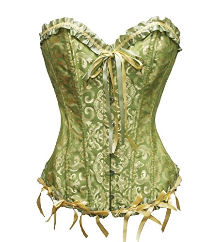 Women's Sweetheart Overbust Satin Lace Boned Bridal Corsets and Bustiers