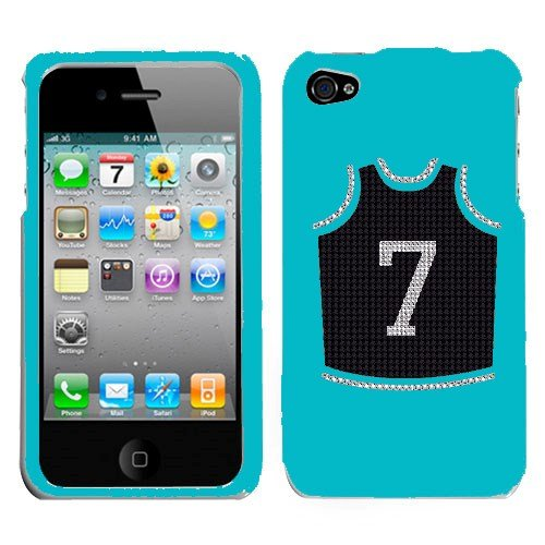 Apple At&T Sprint Verizon Iphone 4 Iphone 4S 16Gb 32Gb Snap On Hard Plastic Durable Cover With Black Jersey With White Lettering #7 Number 7 Basketball Jersey Sport Team Logo Design Multi Color Executive Swarovski Diamond Bling Bling Crystal (Light Blue H front-781714