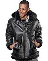 Wilda Men's Bomber Faux Fur Leather Jacket