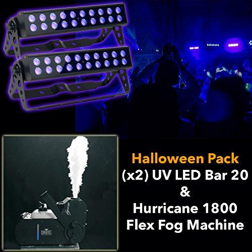 Halloween Pack American Dj (X2) Uv Led Bar 20 And Hurricane 1800 Flex Fog Machine