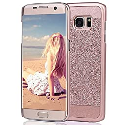 Galaxy S7 Edge Case,Inspirationc® Beauty Luxury Diamond Hybrid Glitter Bling Hard Shiny Sparkling with Crystal Rhinestone Cover Case for Samsung Galaxy S7 Edge--Rose Gold