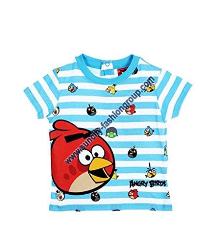Camiseta-de-manga-corta-para-beb-diseo-de-Angry-Birds-color-azul-y-verde-de-6-a-23mois