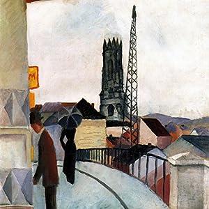 1art1 88682 August Macke - Kathedrale Zu Freiburg In Der Schweiz, 1914 Poster Leinwandbild Auf Keilrahmen 70 x 70 cm