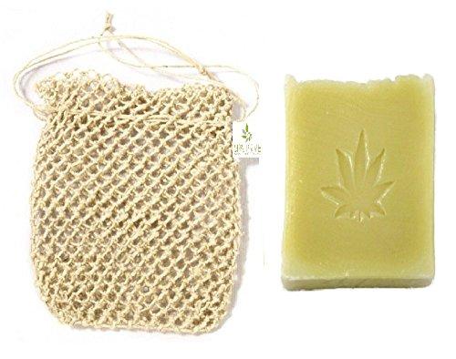 Sapone canapa naturale con olio vergine di oliva e borsa per sapone esfoliante di canapa fatto a mano