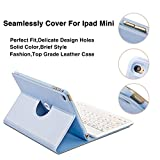 Coo iPad Mini 1 2 3 Bluetooth Keyboard Case with 360 Degree Rotation & Multi-angel Stand ... (Sky Blue)