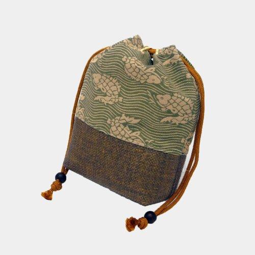 メンズ 和装 信玄 袋 バッグ きんちゃく 巾着 荒磯 模様 柳煤竹色 日本製 合切袋 紳士 男 性 物