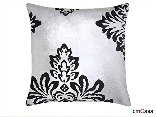 Cmcasa[1227]18X18 Inch Faux Suede Decorative Throw Pillow Cover Cushion Case, European (Black Silver) front-1024101