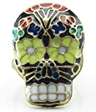 DaisyJewel Top Seller: Adjustable Sugar Skull Ring - Black Enamel with Colorful Day of the Dead Flower Pattern - Dia de los Muertos - La Calaverada Calaca - El Difunto Los Angelitos - One Size Fits All - Most Affordable Shipping Rates - Ships in 1 Day from US