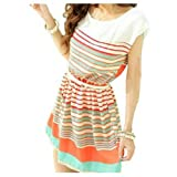 Womens Stripe Flouncing Chiffon Dress Clubwear Skater Dresses