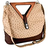 Exotic Ostrich-embossed Turn-lock Top Double Wood Triangle Handles Large Hobo Tote Satchel Handbag Purse Shoulder Bag