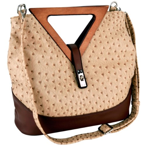 Exotic Tan / Brown Ostrich-embossed Turn-lock Top Double Wood Triangle Handles Large Hobo Tote Satchel Handbag Purse Shoulder Bag