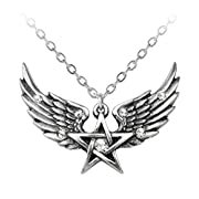 O Fortuna Winged Pentagram Necklace by Alchemy Gothic