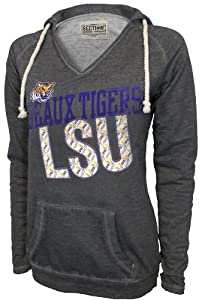 NCAA LSU Tigers Women's Sassy V-Neck Pullover, Lt. Charcoal, X-Large
