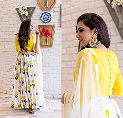 Bhavya Enterprise Yellow Georgatte Lehenga