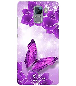 Evaluze butterfly Printed Back Cover for HONOR 7