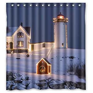 Hot sale christmas lighthouse pattern for Bathroom decor on amazon