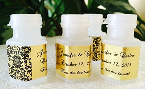 210 DAMASK GOLD FOIL PERSONALIZED BUBBLE LABELS/STICKERS for WEDDING or party FAVORS (Personalized Party Stickers compare prices)