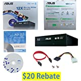 ASUS BW-12B1ST 12X Blu-ray CD DVD Internal Burner Drive in Retail Box + FREE 1pk Mdisc BD + BD Suite Software + Cables & Mounting Screws