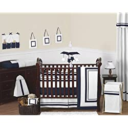 Sweet Jojo Designs Contemporary White and Navy Modern Hotel Baby Boy Girl Unisex Bedding 9pc Crib Set