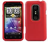 ITALKonline Red Slim Grip Rubber Silicone Case Soft Skin Cover For HTC Evo 3D