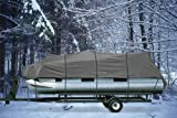"HEAVY DUTY WATERPROOF GRAY PONTOON COVER FITS LENGTH 20' 21' 22' 23' 24' ' - BEAM WIDTH 102"" SUPERIOR TRAILERABLE PONTOON COVERS 600 DENIER INBOARD OUTBOARD PONTOON COVERS"