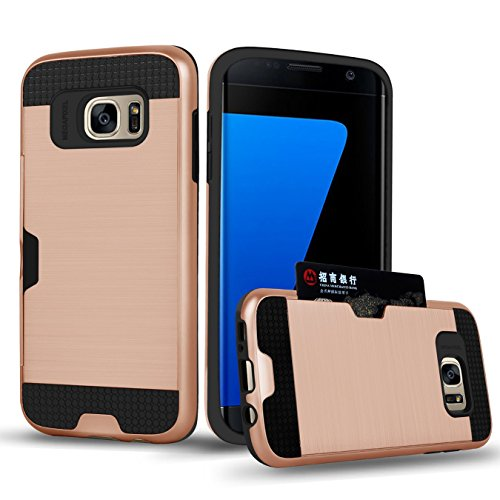Galaxy S7 Edge Case , TSWA Card Slot Series , Shockproof Drop Protection Dual Layer Slim Wallet Card Holder Covers For Samsung Galaxy S7 Edge (Dark Pink) (Samsung Dart Case compare prices)