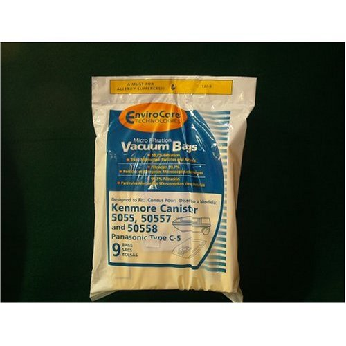 Kenmore Canister 5055, 50557, 50558 and Panasonic Type C-5 Vacuum Bags Microfiltration with Closure-9 bags