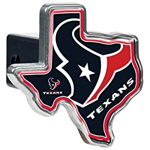 NFL Houston Texans Texas Shaped Trailer Hitch Cover, High Polish Metal by Great American Products