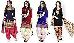 Fashion Dream Women's Printed Unstitched Regular Wear Salwar Suit Dress Material (Combo pack of 4)
