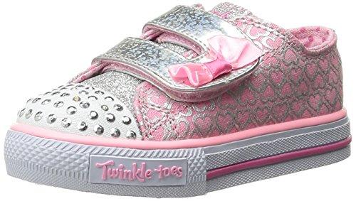 Skechers Kids Shuffles Light-Up Sneaker (Toddler/Little Kid),Pink/Silver,9 M US Toddler