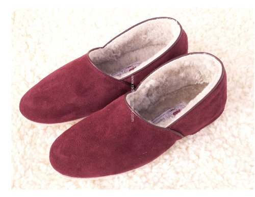 Men's Real Sheepskin Slippers (UK Size 12, Black)