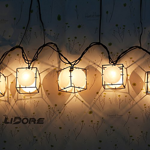LIDORE Set of 10 Vintage style Square with Seashells String Lights. Ideal for home and simple decor 4