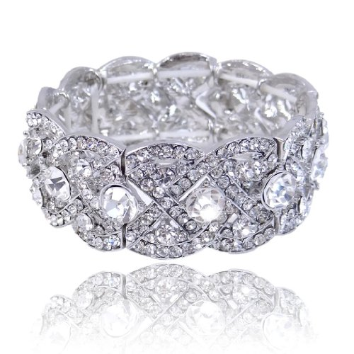 EVER FAITH Austrian Crystal Wedding Art Deco Elastic Stretch Bracelet Clear Silver-Tone