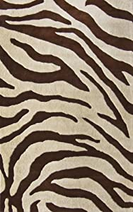 NuLoom Safari Zebra Print 6 Foot Round Wool Area Rug, Brown