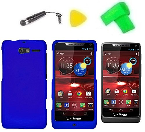 Phone Cover Case Cell Phone Accessory + Extreme Band + Stylus Pen + Lcd Screen Protector + Yellow Pry Tool For Verizon Motorola Moto Luge 4G Lte (Blue)