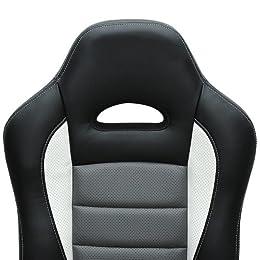 Fauteuil de bureau noir et gris au look sport - surface PU ergonomique réglable