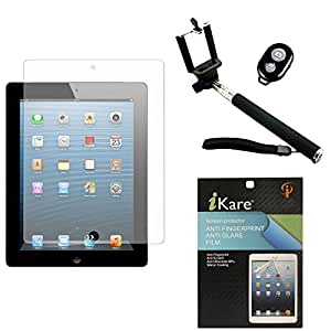 iKare Pack of 6 Anti-Glare Anti-Scratch Anti-Fingerprint Matte Screen Protector for Apple iPad Air 2 + Handheld Selfie Monopod with Bluetooth Clicker