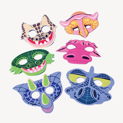 12 Foam Dinosaur Masks -Dinosaur Party Favor Masks