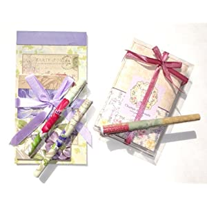 Mothers Day Pamela Gladding 8 Piece Shabby Chic Stationary Set - Notesbooks, Pens and Lavender Sachets