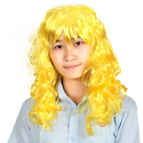Doll Style Curly Long Hair Cosplay Yellow Synthetic Fiber Full Wig - 1