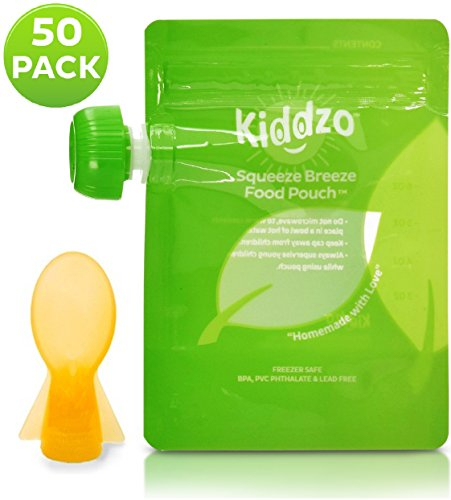 Reusable / Disposable Food Pouch (50 Pack) with Spoon Attachment - Easy Fill & Easy Clean 6oz Squeeze Pouches - Great for Homemade and Organic Baby Food. (Reusable Food Pouches Baby compare prices)