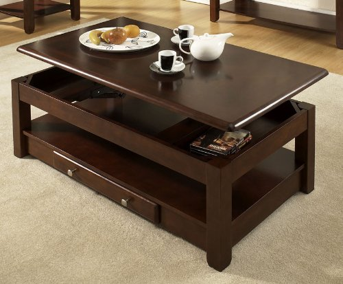 Steve Silver Nelson Lift Top Cocktail Table with Casters - Cherry - NE300CLC-