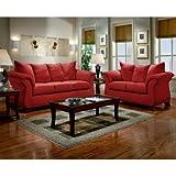 Flash Furniture Exceptional Designs Microfiber Living Room Set, Sensations Red Brick