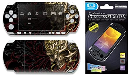 Combo Deal: Sony PSP 2000 Slim Skin Decal Sticker plus Screen Protector - Celtic Skull